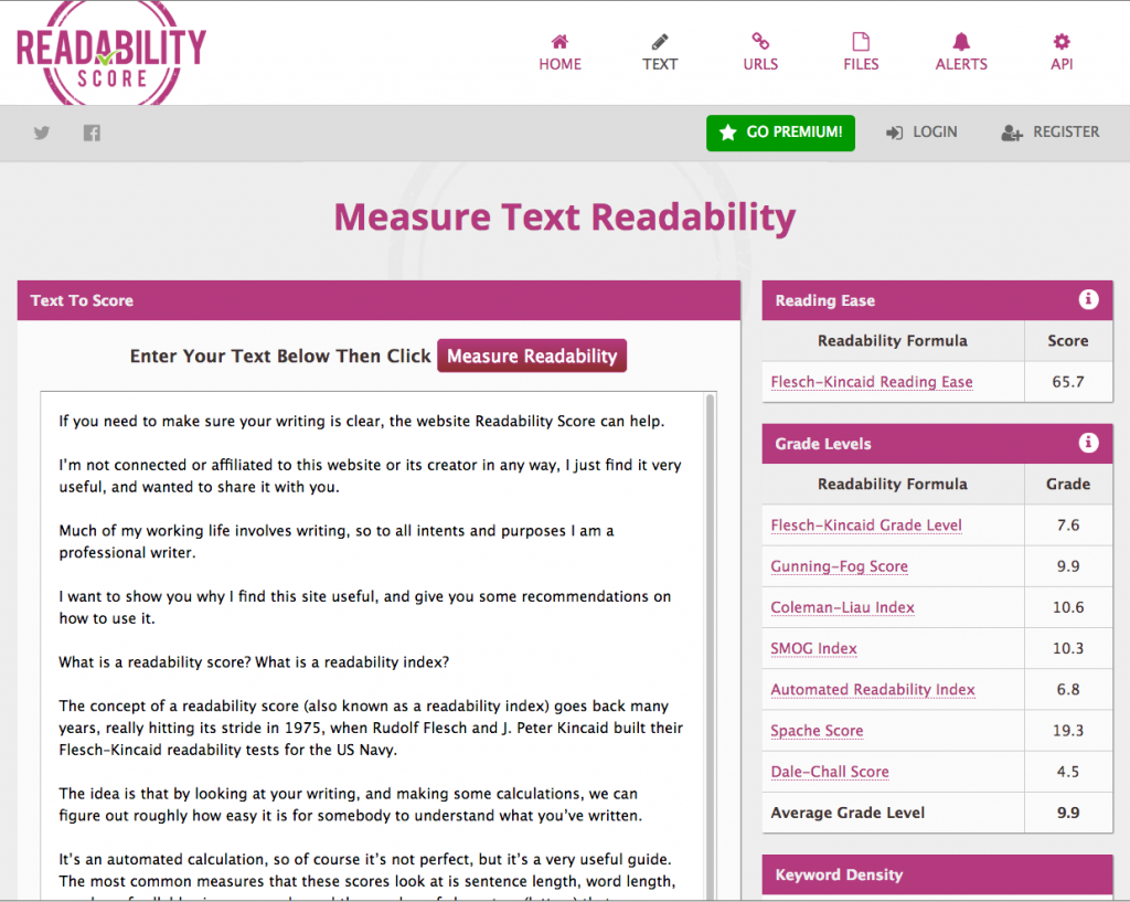 Readability score screenshot